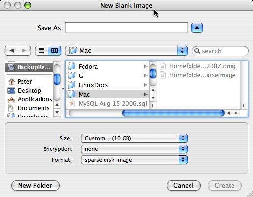 New Disk Image window