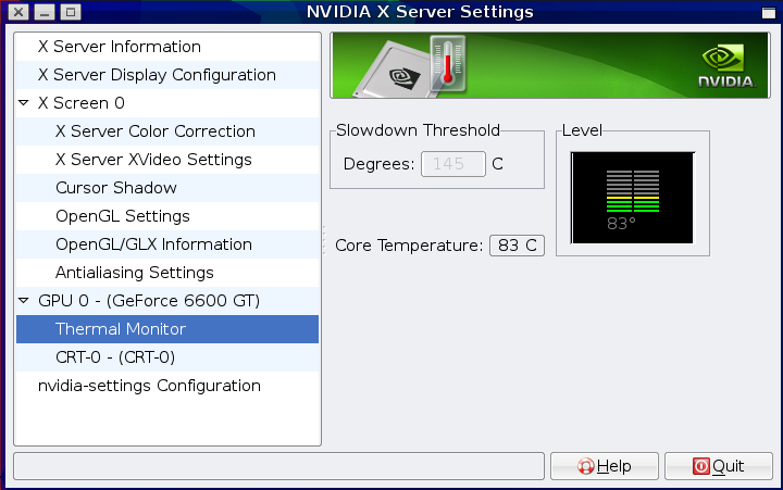 NVIDIA card X configuration screen