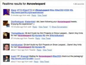Screenshot of Twitter search results for #snowleopard