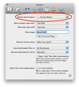 Safari Preferences for default browser, showing Choose Wisely