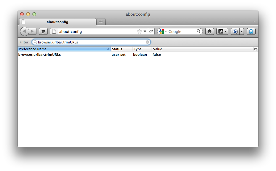 Screenshot showing about:config in Firefox, with the browser.urlbar.trimURLs key shown