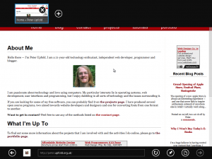Internet Explorer 10's 'Metro' interface, showing this website