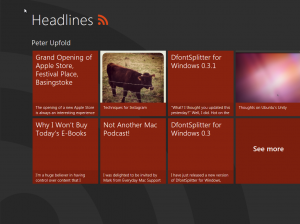 Windows 8 'Headlines', showing RSS feed headlines for my blog