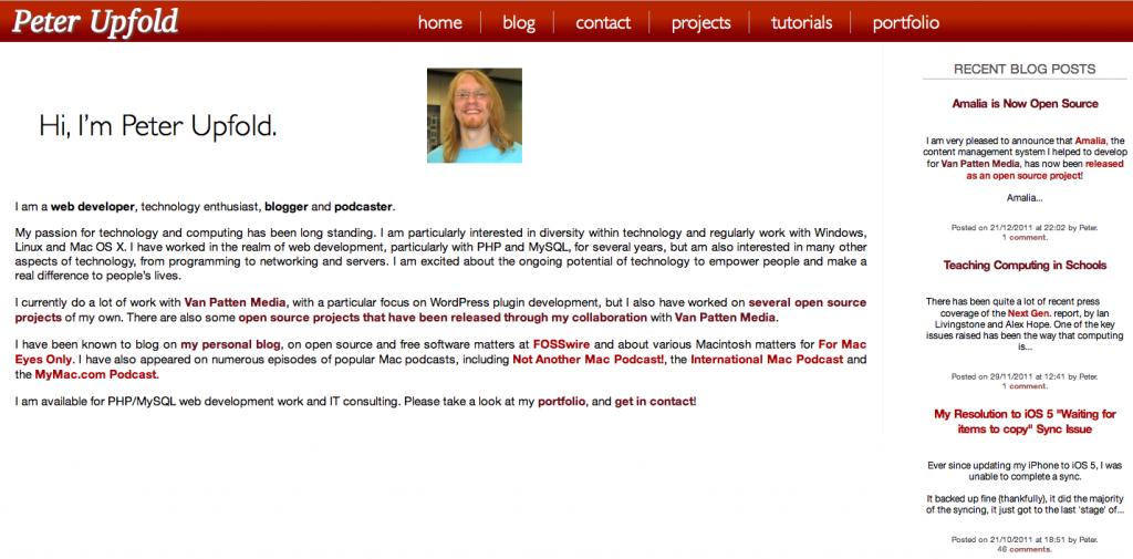 A screenshot of the new site design