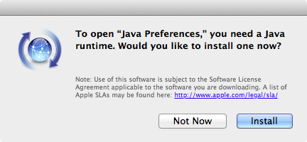 OS X offering to install a Java runtime