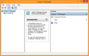 Screenshot of the Hyper-V Manager on Windows 8