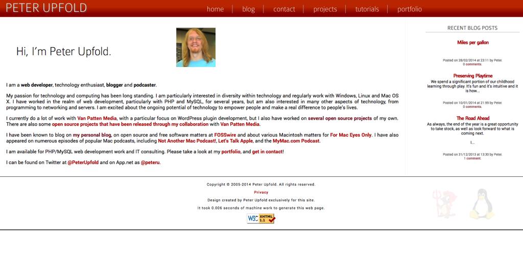 New site design screenshot